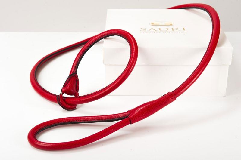choke leather leash red