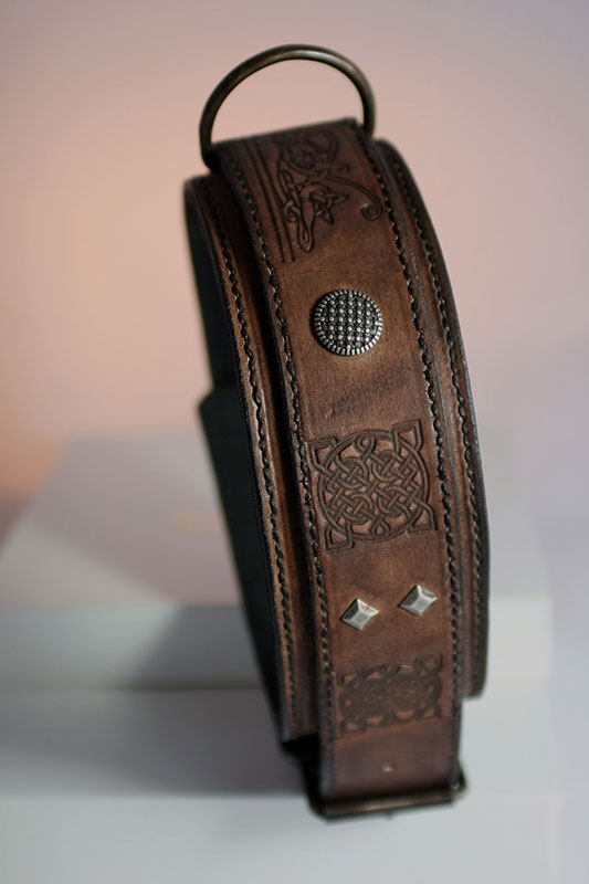 Handmade collar with rich embossing and antique silver details