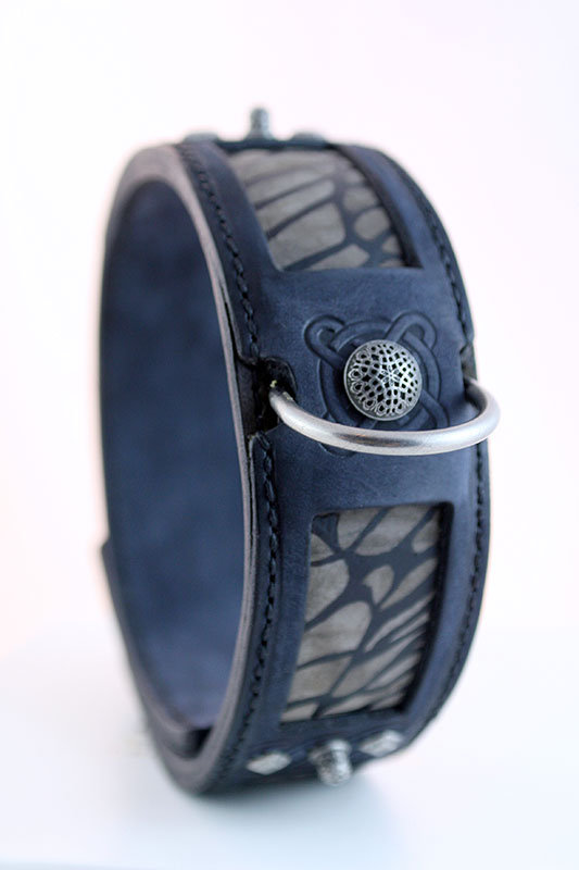 Blue leather dog collar with abstract handprint