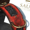 Leather Dog Collar Red and blue leopard