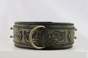 Olive leather collar