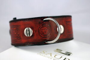 Antique red leather collar