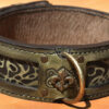 Handantiqued leather dog collar A06 with brass fleur-de-lys