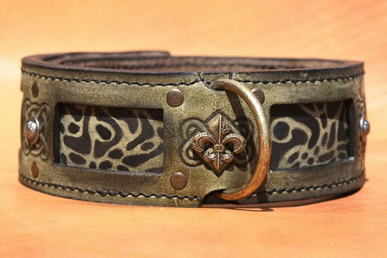 Antique green leather dog collar with leopard handprint