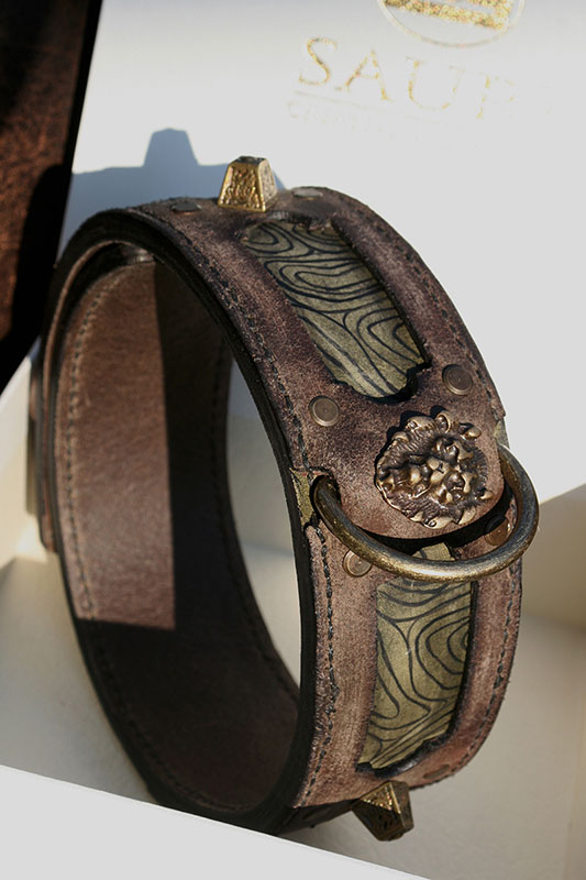 Antique brown and green leather collar