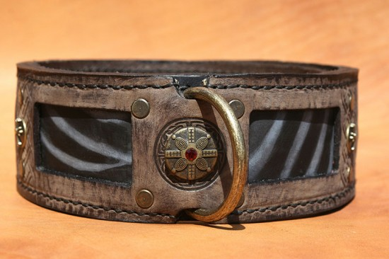 Antique brown dog collar with stripes