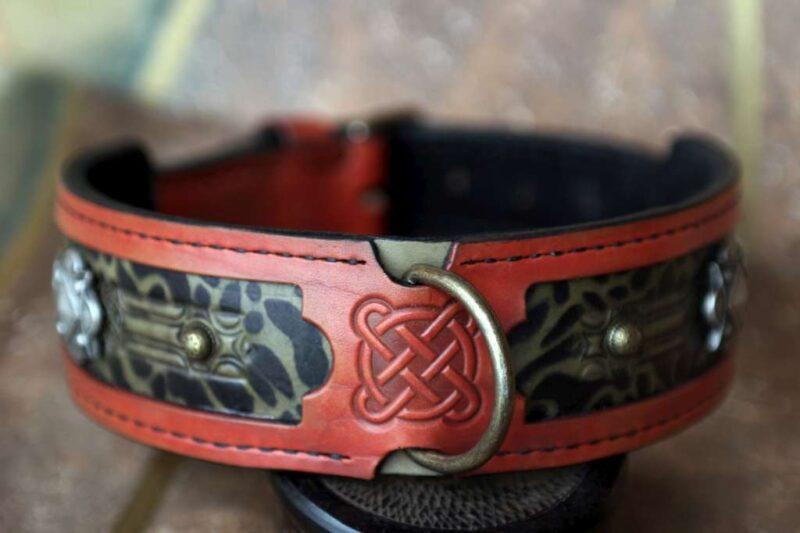 Terracotta jaguar leather dog collar by Workshop Sauri