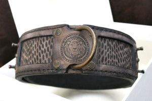 Antique brown dog collar with lion embossing