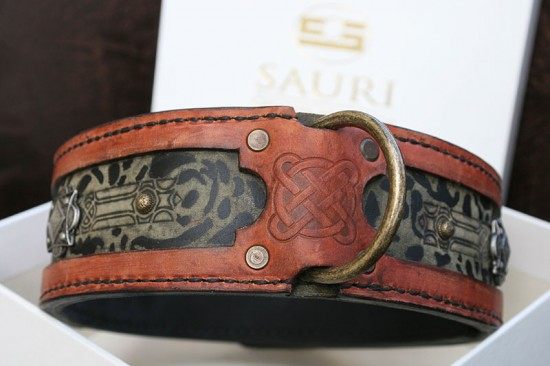 Terracotta genuine leather dog collar