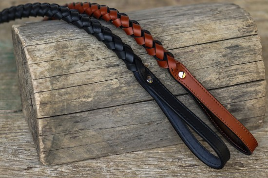 Strong plaited leather dog leash - Workshop Sauri