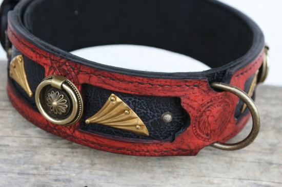Red handmade leather dog collar Deering