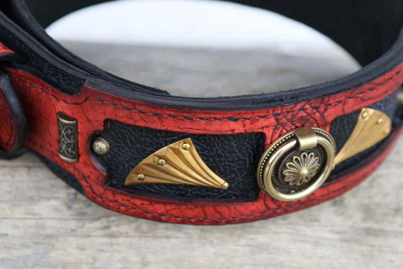 Red handmade leather dog collar ornaments