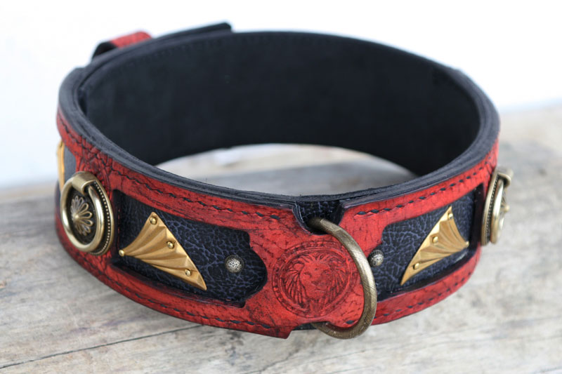 Red handmade leather dog collar