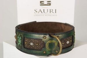 Emerald mastiff dog collar