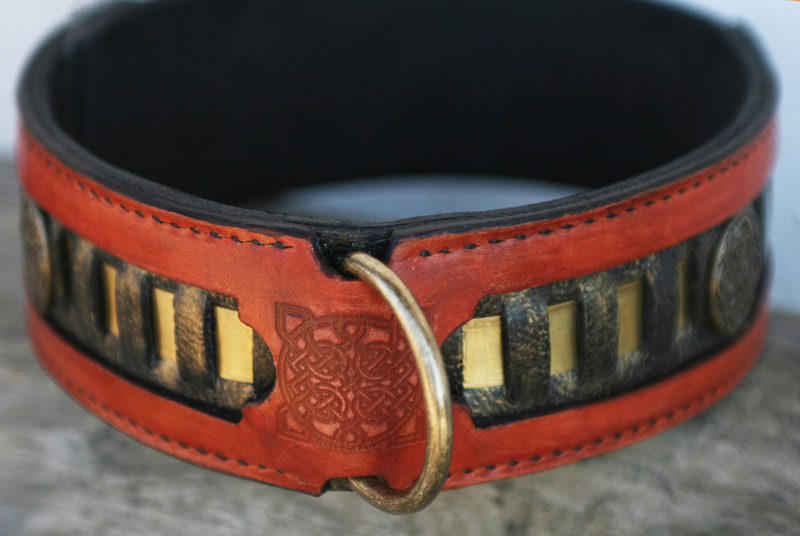 Caracal dog collar leather embossing