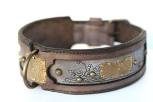 Kairos Dog Collar - Brass Ornaments and Embossing