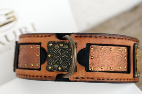 Shiraz exquisite leather dog collar hand crafted by Workshop Sauri