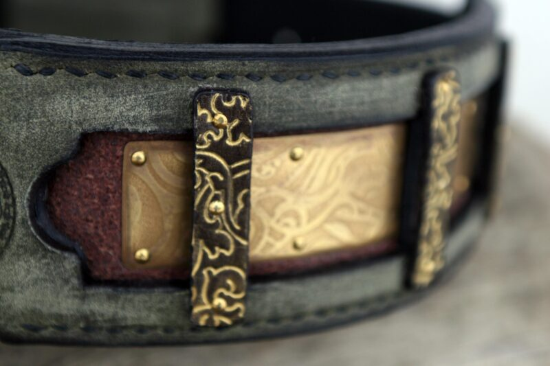 Tara mastiff dog collar detail of embossing in brass and leather hand crafted by Workshop Sauri