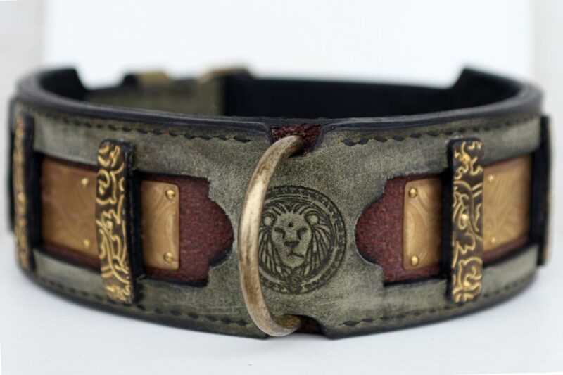 Tara details of exquisite leather dog collar handmade by Workshop Sauri for molosser dogs