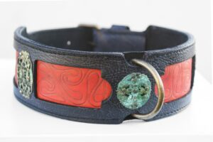 Unique black and red leather dog collar by Workshop Sauri