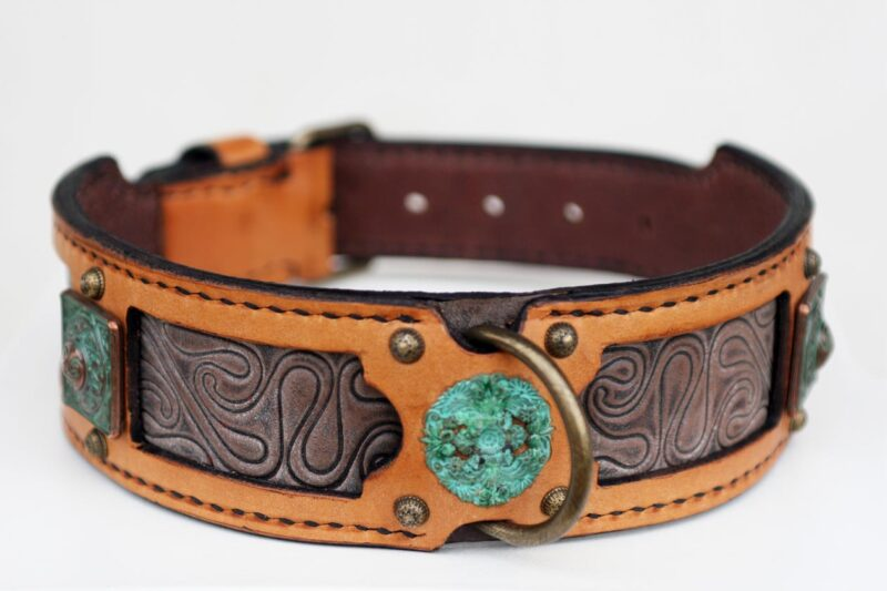 Workshop Sauri - Madava purplish and ocher leather dog collar