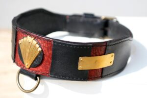 Luxor - black and red leather dog collar by Workshop Sauri