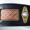 Seraphim dog collar - hand stitching and ornaments