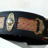 Seraphim - unique leather dog collar with brass ornaments