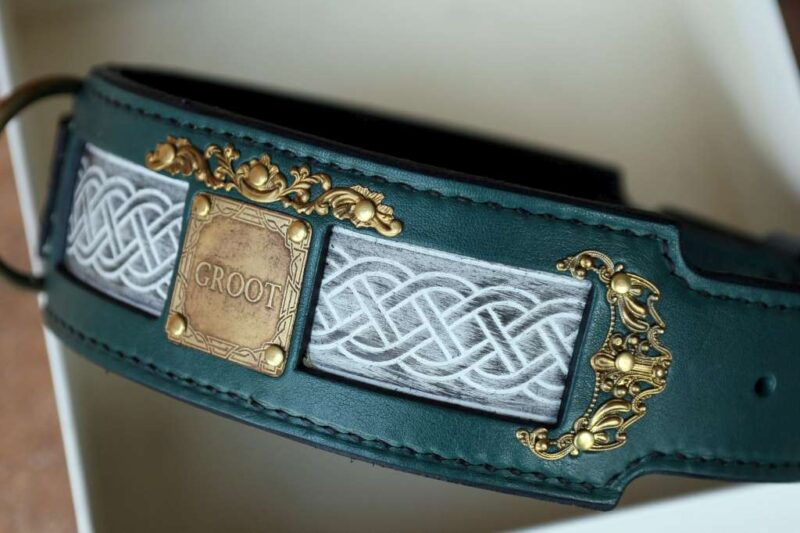 Personalized vegetable tanned leather dog collar by Workshop Sauri