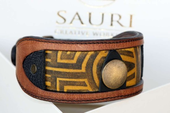 Luangva unique leather dog collar for sighthounds by workshop Sauri