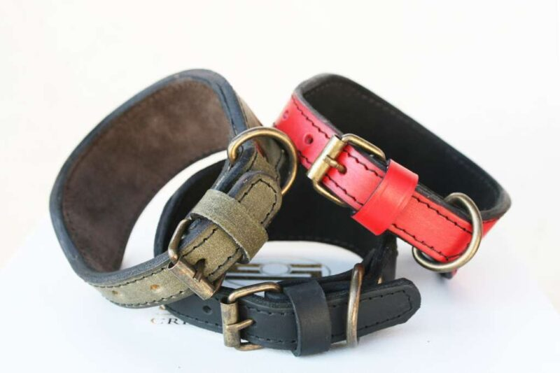 Sauri leather dog collars buckle detail