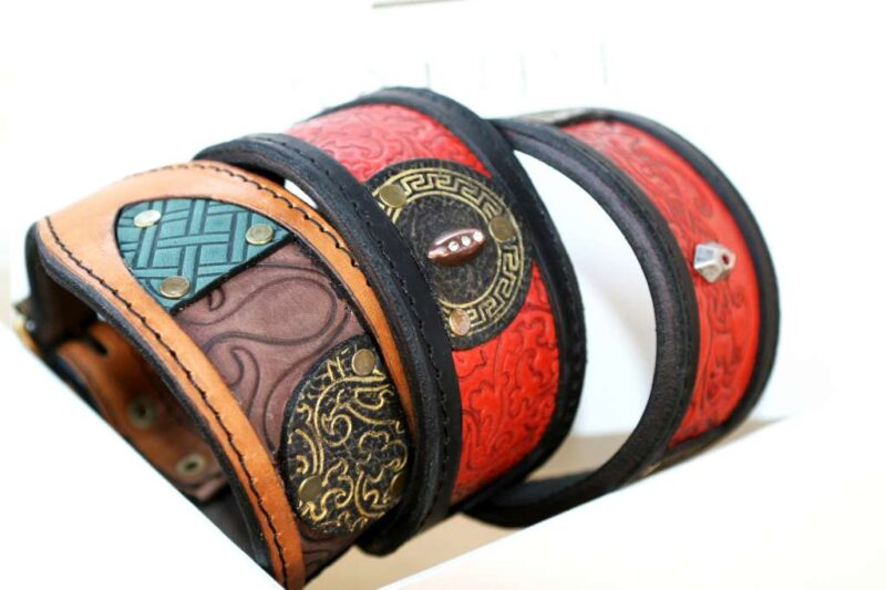 Unique leather dog collars for Whippets by Sauri