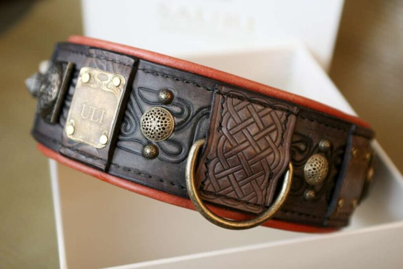 Antique leather dog collar by Workshop Sauri