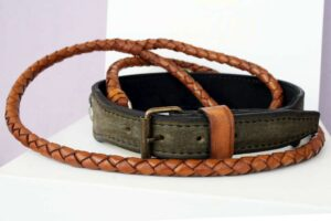 Personalized dog collar and leash for Bulldog handmade by Workshop Sauri