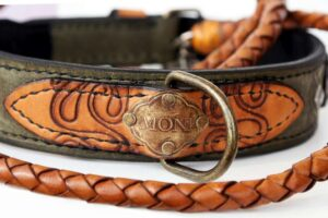 Personalized leather dog collar and leash hand crafted by Workshop Sauri