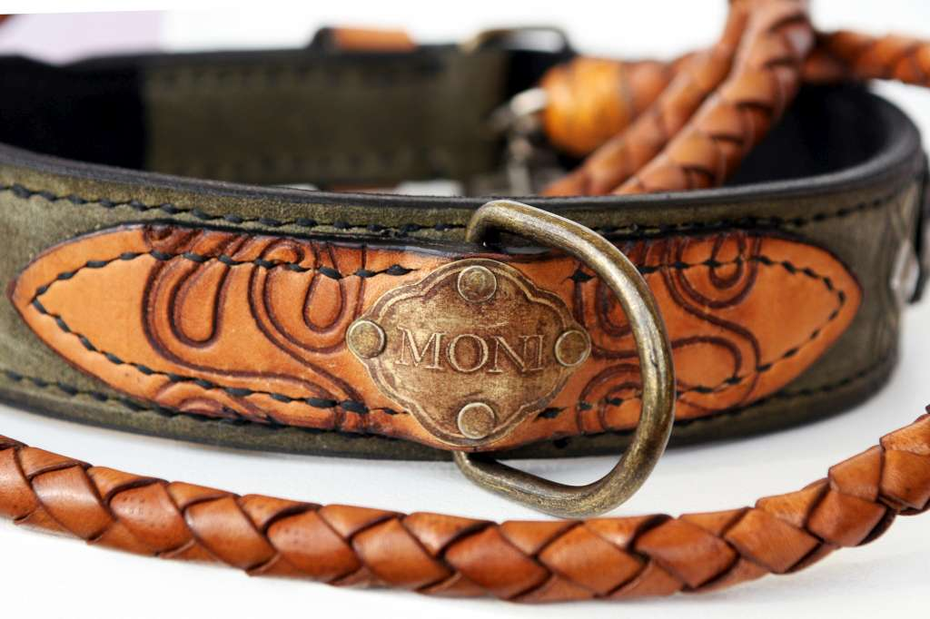 407bf5a8495e Personalized leather dog collar and leash hand crafted by Workshop Sauri