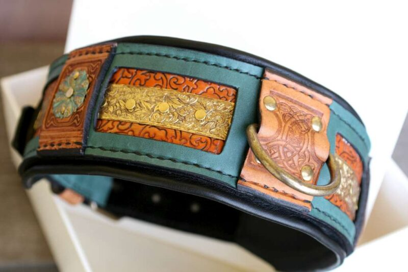 Eclectic style leather dog collar handmade by Workshop Sauri
