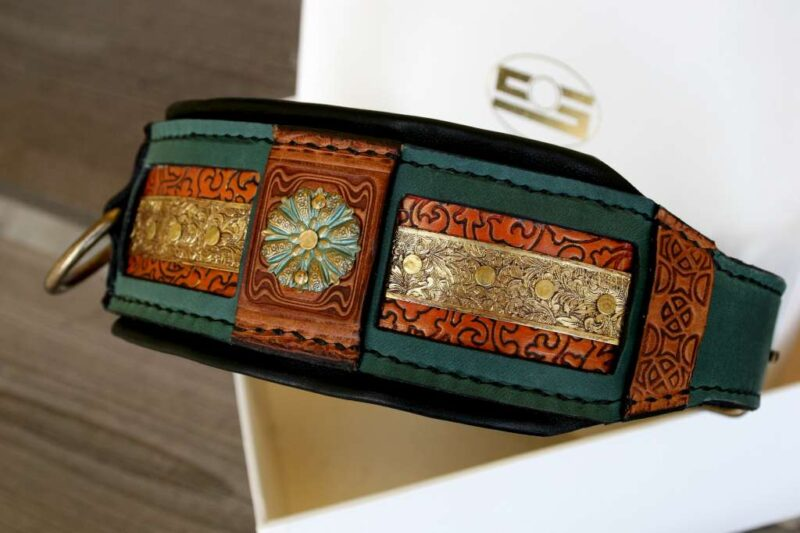 Uniquely handmade dog collar with soft leather lining by Workshop Sauri