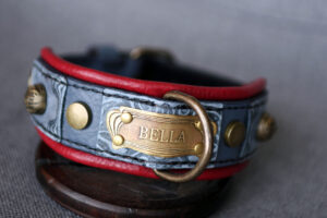 Red and grey dog collar TESLA by Workshop Sauri