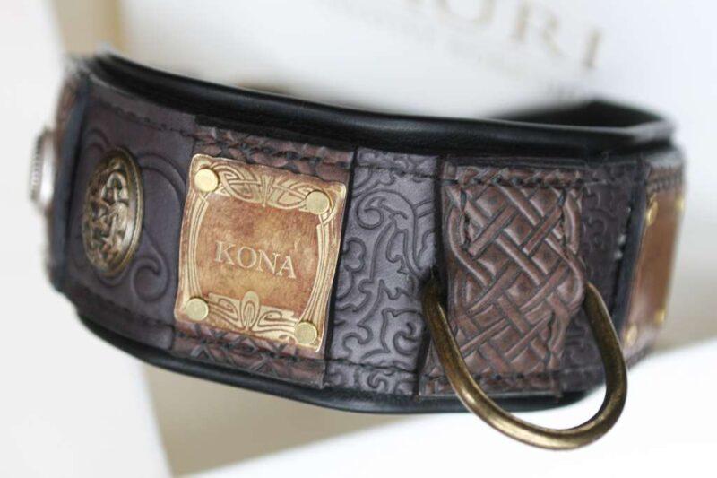 Amstaff leather dog collar handmade by Workshop Sauri