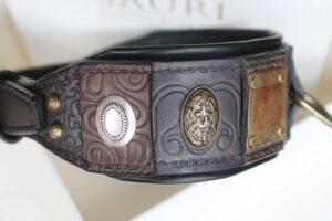 Unique leather dog collar handmade by Workshop Sauri