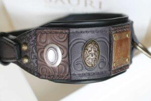 Unique leather dog collar handmade by Workshop Sauri