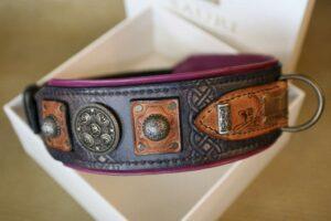 Carthage - rustic leather dog collar handmade by Workshop Sauri