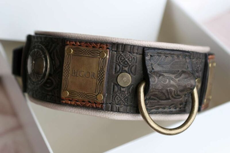 Imperial leather dog collar handmade by Workshop Sauri