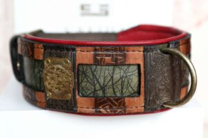 Bamboo hand print on leather dog collar by Workshop Sauri