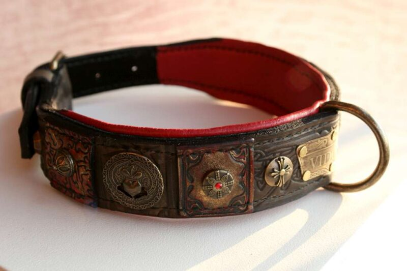 Brown leather dog collar with red padding - Vidocq - handmade by Workshop Sauri