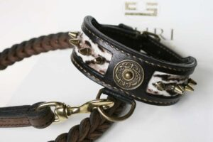 Leather dog collar with spikes and fur by Workshop Sauri