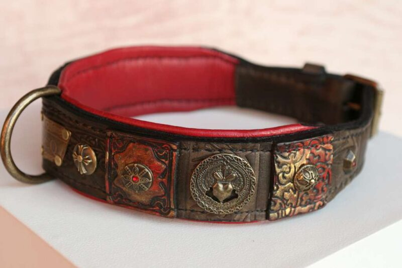 Red and brown leather dog collar - Vidocq by Workshop Sauri