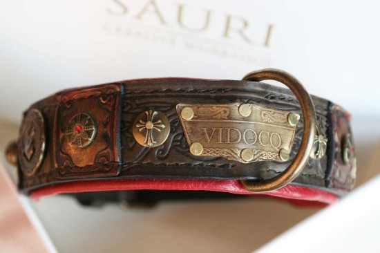 Vidocq - unique brown leather dog collar handmade by Workshop Sauri