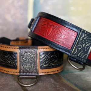 Orange Shanti leather dog collar by Workshop Sauri